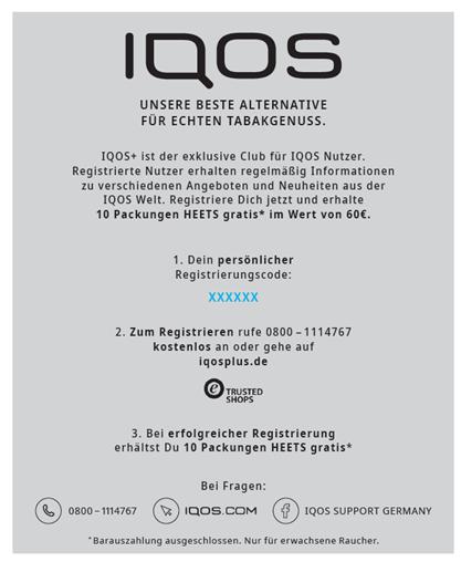 IQOS Kit 2.4 Registrierungsflyer