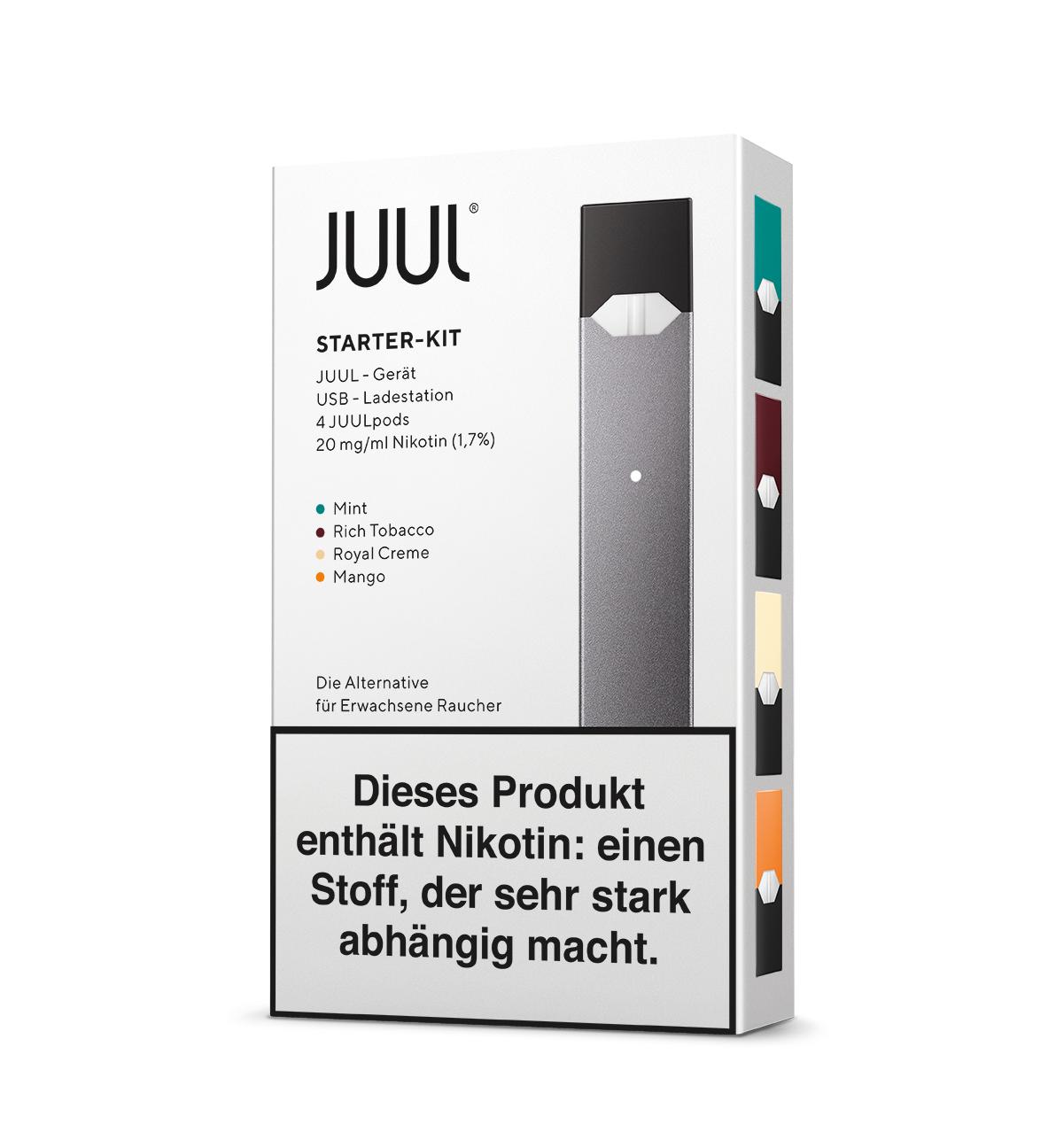 Juul Starter Kit inklusive 4 Pods mit 20mg Nikotin